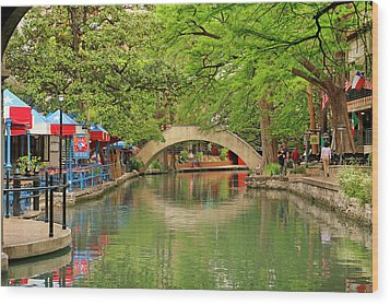 Wood Print featuring the photograph Arched Bridge Reflection - San Antonio by Art Block Collections
