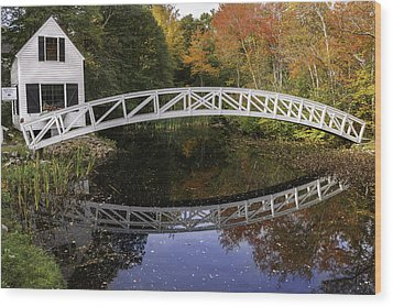 Arched Bridge-somesville Maine Wood Print by Thomas Schoeller