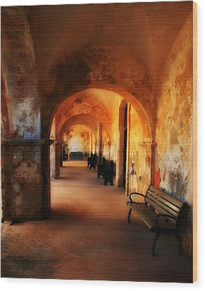 Arched Spanish Hall Wood Print by Perry Webster