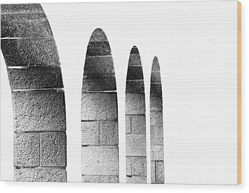Arches Per Israel - White And Black Wood Print by Deb Cohen