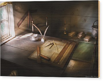 Architect - The Drafting Table  Wood Print by Mike Savad