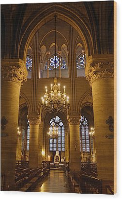 Architectural Artwork Within Notre Dame In Paris France Wood Print by Richard Rosenshein