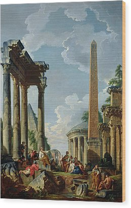 Architectural Capriccio With A Preacher In The Ruins Wood Print by Giovanni Paolo Pannini or Panini