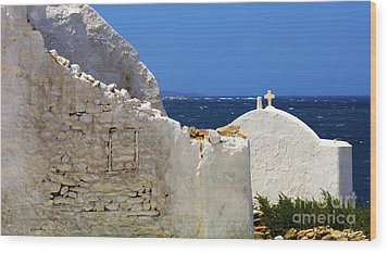 Wood Print featuring the photograph Architecture Mykonos Greece 2 by Bob Christopher