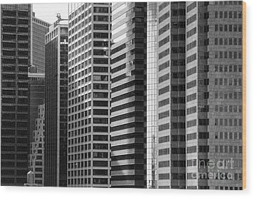 Architecture Nyc Bw Wood Print by Chuck Kuhn