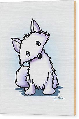 Arctic Fox Wood Print by Kim Niles