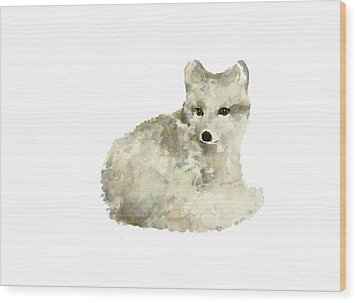 Arctic Fox Watercolor Art Print Painting Wood Print by Joanna Szmerdt