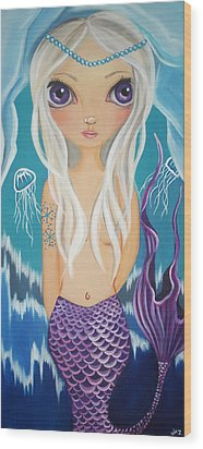Arctic Mermaid Wood Print by Jaz Higgins