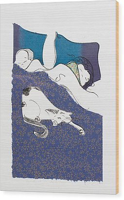 Aren't They Cute When They Are Sleeping Wood Print by Leela Payne