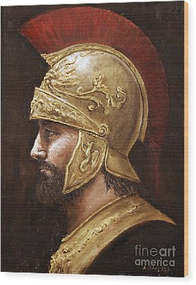 Wood Print featuring the painting Ares by Arturas Slapsys