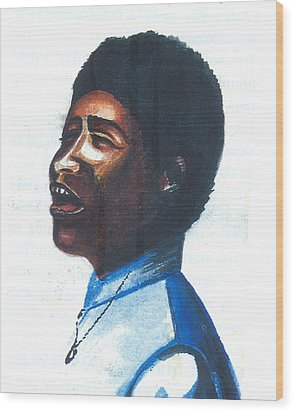 Wood Print featuring the painting Aretha Franklin by Emmanuel Baliyanga