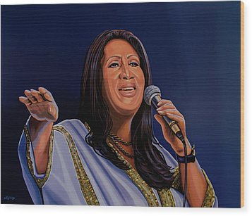 Aretha Franklin Painting Wood Print by Paul Meijering