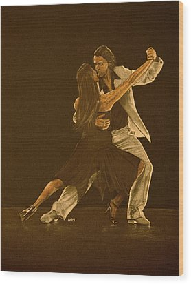 Argentine Tango Dancers Wood Print by Martin Howard