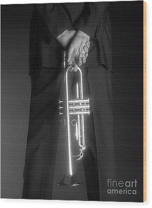 Ari And Trumpet Wood Print