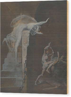Ariadne Watching The Struggle Of Theseus With The Minotaur Wood Print by Henry Fuseli