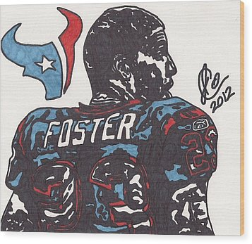 Wood Print featuring the drawing Arian Foster 2 by Jeremiah Colley