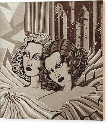 Arielle And Gabrielle In Sepia Tone Wood Print by Tara Hutton
