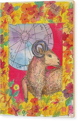 Wood Print featuring the painting Aries by Cathie Richardson
