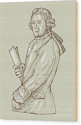 Aristocrat Wearing Wig Wood Print by Aloysius Patrimonio