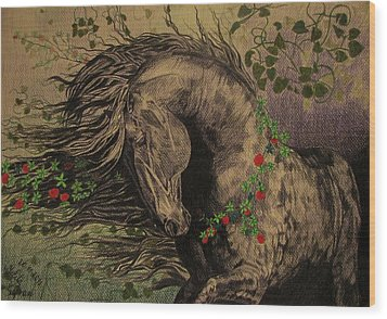 Aristocratic Horse Wood Print by Melita Safran