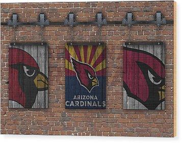 Arizona Cardinals Brick Wall Wood Print by Joe Hamilton