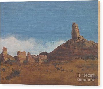 Wood Print featuring the painting Arizona Monolith by Suzette Kallen