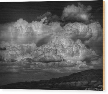 Arizona Monsoon Black And White Wood Print