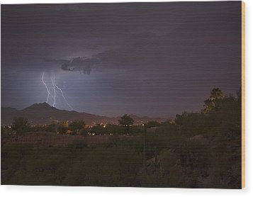 Wood Print featuring the photograph Arizona Monsoon Lightning by Dan McManus
