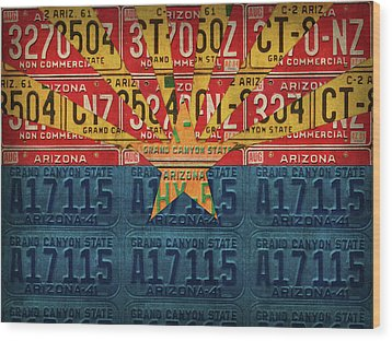 Arizona State Flag Vintage License Plate Art Wood Print by Design Turnpike