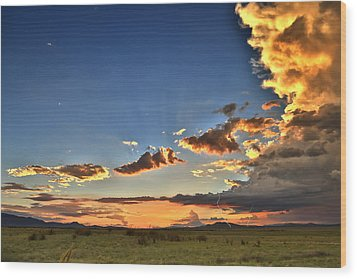 Arizona Sunset Storm Wood Print