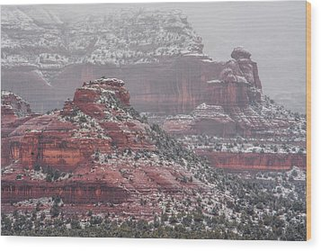 Arizona Winter Wood Print by Racheal Christian
