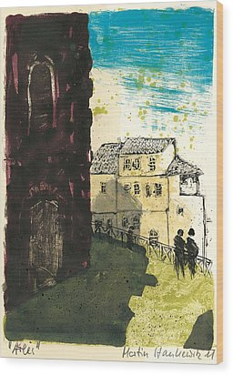 Wood Print featuring the painting Arles Near Arena Provence by Martin Stankewitz