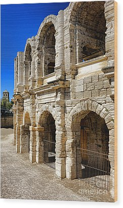 Wood Print featuring the photograph Arles Roman Amphitheater by Olivier Le Queinec