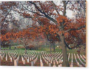 Arlington Cemetery In Fall Wood Print by Carolyn Marshall