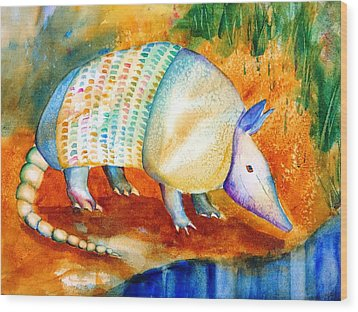 Armadillo Reflections Wood Print by Carlin Blahnik