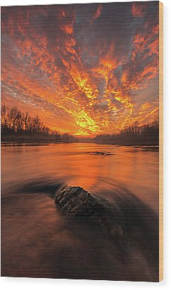 Wood Print featuring the photograph Fire On Sky by Davorin Mance