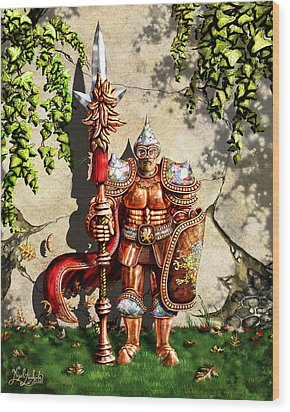 Armored Imperial Gryphon Guard Wielding A Shield And Ranseur Wood Print by Nigel Andreola
