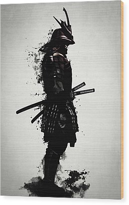 Wood Print featuring the mixed media Armored Samurai by Nicklas Gustafsson