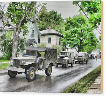 Army Jeeps On Parade Wood Print