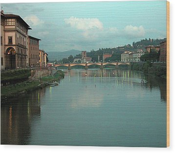Wood Print featuring the photograph Arno River, Florence, Italy by Mark Czerniec