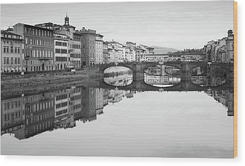 Wood Print featuring the photograph Arno River Reflection, Florence, Italy by Richard Goodrich