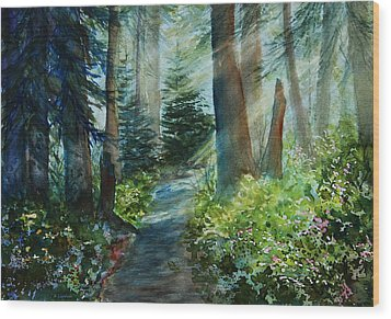 Around The Path Wood Print by Kerri Ligatich