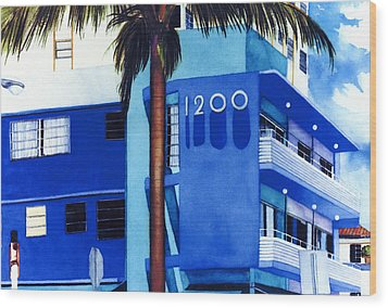 Around Twelve Noon In South Beach Wood Print by Maureen Piccirillo
