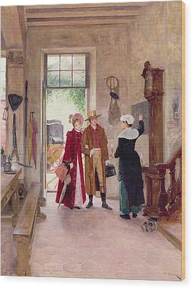 Arrival At The Inn Wood Print by Charles Edouard Delort