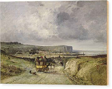Arrival Of A Stagecoach At Treport Wood Print by Jules Achille Noel