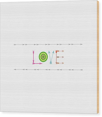 Arrow Love - Changeable Background Color Wood Print