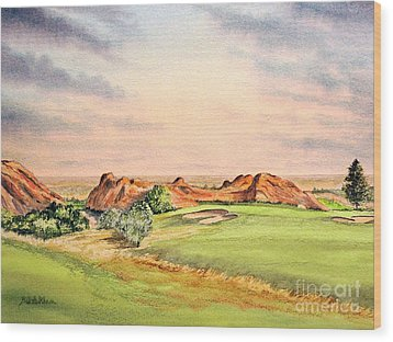Wood Print featuring the painting Arrowhead Golf Course Colorado Hole 3 by Bill Holkham