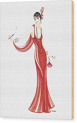 Art Deco Lady - Daphne Wood Print by Di Kaye