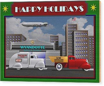 Art Deco Street Scene Christmas Card Wood Print by Stuart Swartz