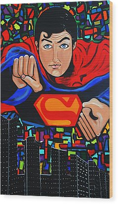 Art Deco  Superman Wood Print